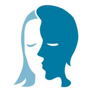 Two heads blau