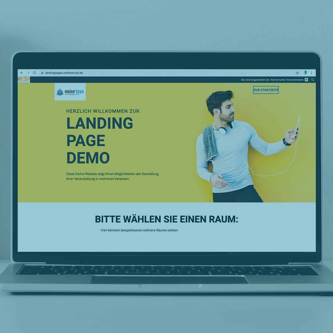 Landingpage Demo am Laptop, komplett individualisierbar für Online & Hybrid Events